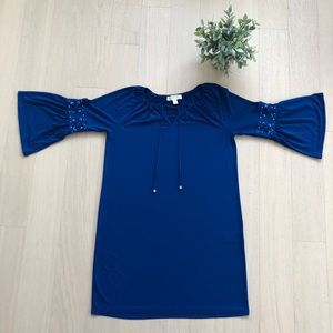 NWOT MICHAEL KORS - Blue LaceUp Bell Sleeved Tunic